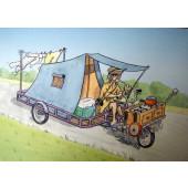 Carte postale vélo cyclo camping