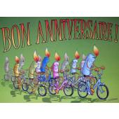 Carte postale vélo bon anniversaire