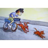 Carte postale vélo police