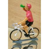 Figurine cycliste : maillot rose du vainqueur du tour d'Italie à la gourde