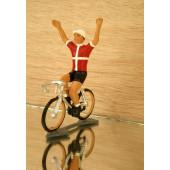 Figurine cycliste : maillot danois bras levés