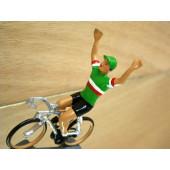 Figurine cycliste : maillot italien bras levés