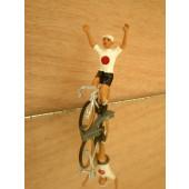 Figurine cycliste : maillot du Japon bras levés