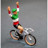 Figurine cycliste : champion d'Italie bras levés