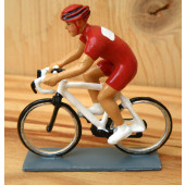 Figurine cycliste : maillot rouge contemporain