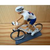Figurine cycliste : maillot bleu-blanc contemporain