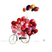 """Carte postale """"le vélo aux ballons"""""""