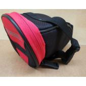 Sacoche de selle noire et rouge, 1l, fixation sous chariot de selle