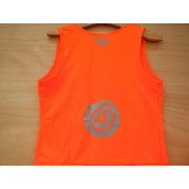 "T-shirt orange fluo ""tourbillon"", taille L"