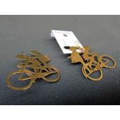 Boucles d'oreilles dorées enfants à bicyclette