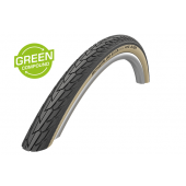 700x35C Pneumatique Schwalbe ROAD CRUISER Noir à flanc Beige HS484 - Green Compound - Tringle Rigide - ETRTO 37-622