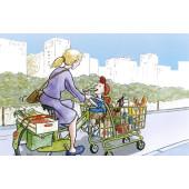 Carte postale vélo caddie