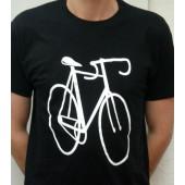 T-shirt noir motif vélo course XS