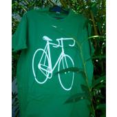 T-shirt vert motif vélo course XL